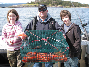 Vancouver Island fishing charters for salmon and bottom fishing for ling cod and red snapper.