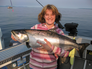 BC salmon fishing in the calm waters off mid Vancouver Island, family friendly